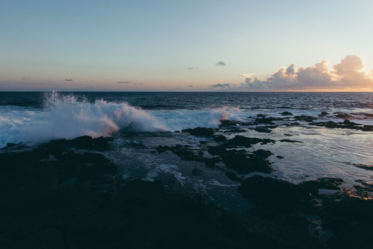Waves crashing on the rocks, South Point, Big Island, Hawaii
