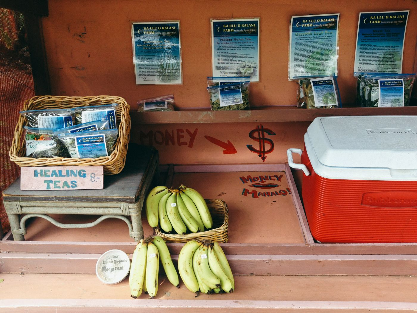 Self-service food and tea, Big Island, Hawaii