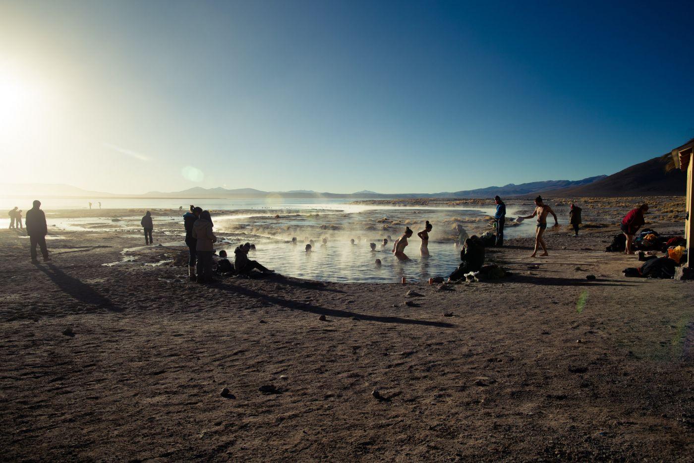 Termas de Polques, hot springs of Laguna Chalviri, Bolivia