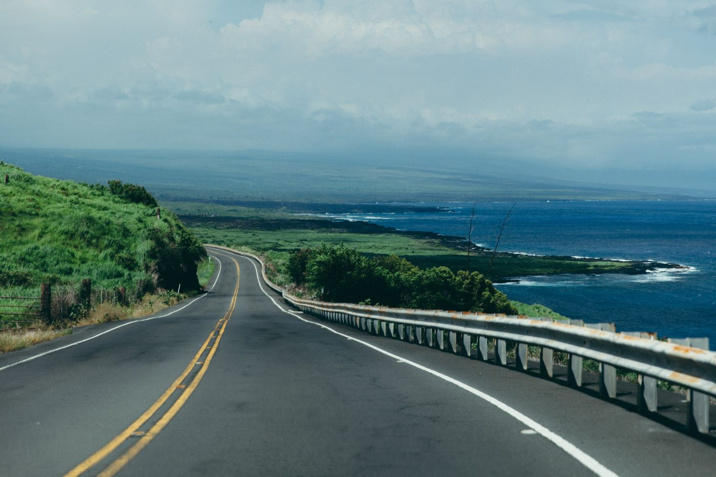 Driving down Mamalahoa Highway to the East Coast of Big Island, Big Island, Hawaii