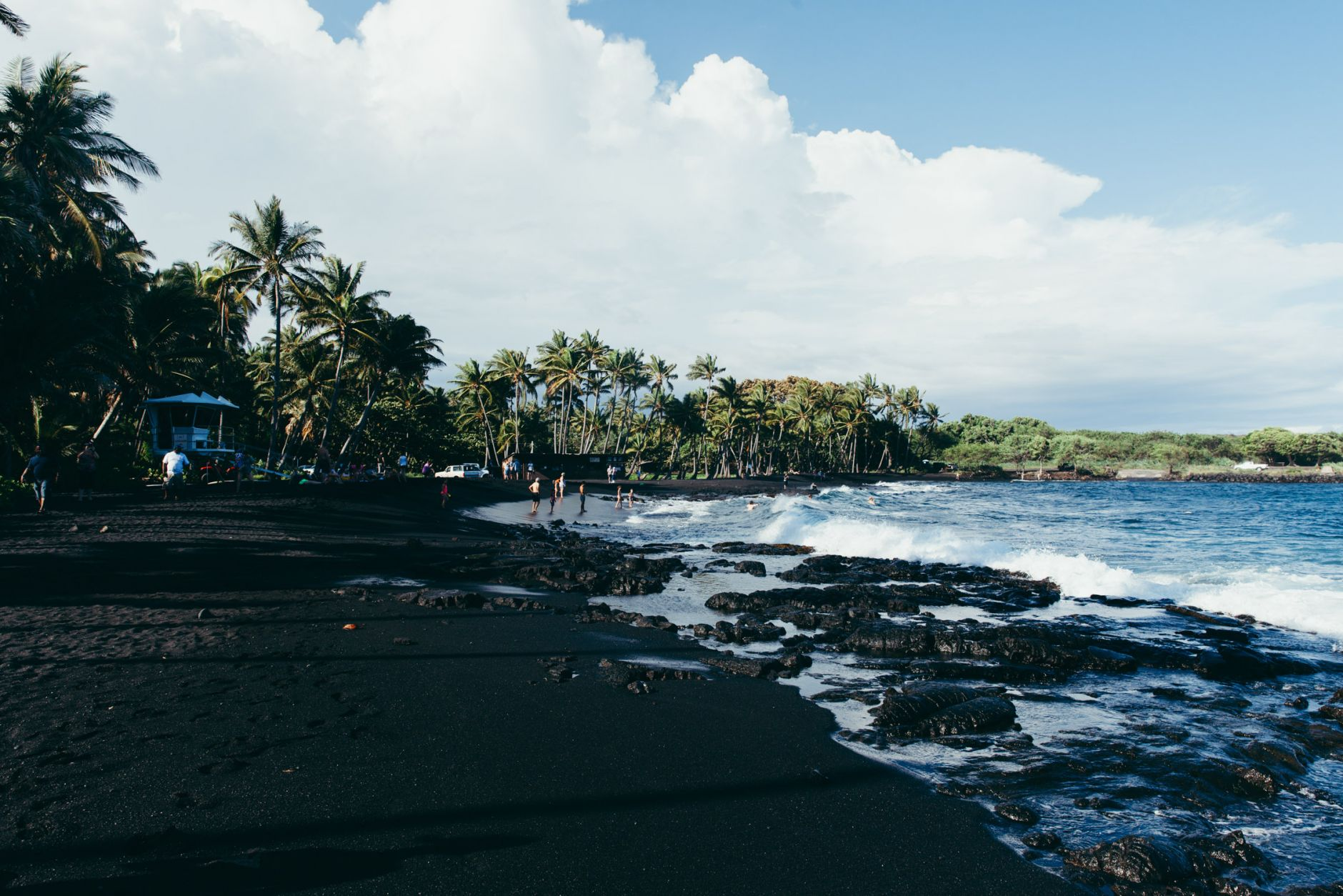 Punaluu Black Sand Beach, Big Island, Hawaii