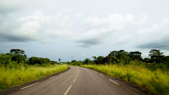 A road with amazing tropical colors.