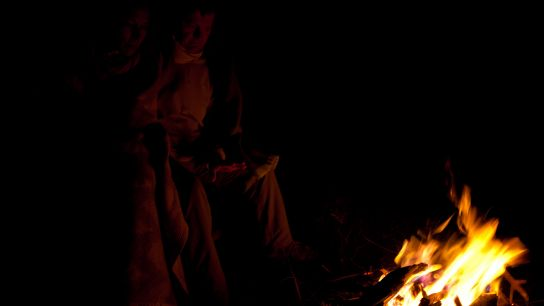 As good city dwellers, we are among the last people to be up. We sit around a campfire …
