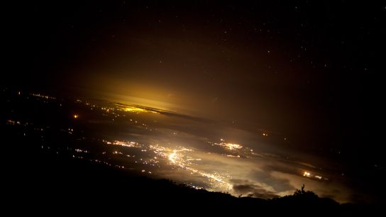 Looking to the East, some cities are visible. At the bottom of the mount, Buea, farther, Douala.