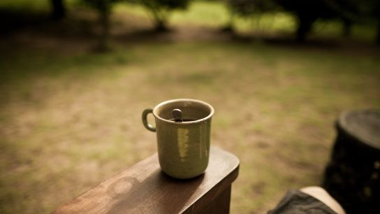 Little tea outside … to rest after the stress of driving the trail …