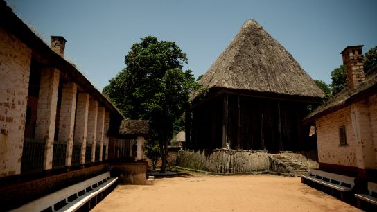 The Bafut temple. Impressive. Very tall, with a base made of stone, walls made of bamboo and a roof of palm tree leaves.