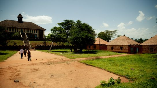 A really nice place. Up there, the Bafut museum.