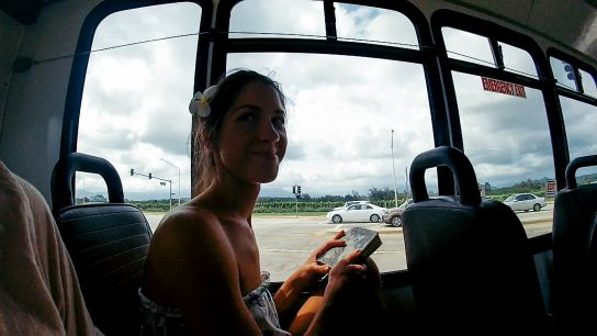 Girl on the bus, Kaua'i, Hawaii