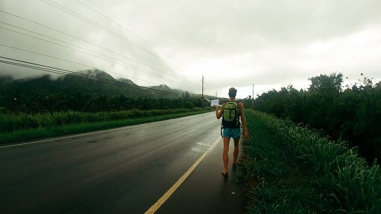 Hitch-hiking, Kaua'i, Hawaii