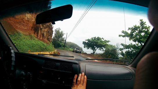 Hitch-hiking, in the car, Kaua'i, Hawaii