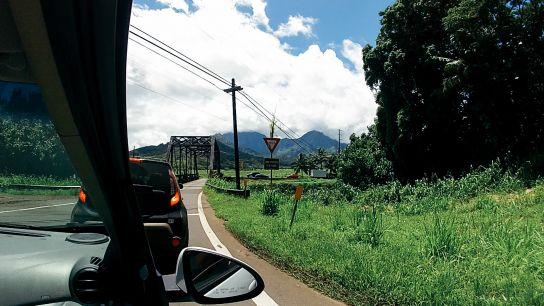 Driving to Ke'e Beach, Kauai, Hawaii