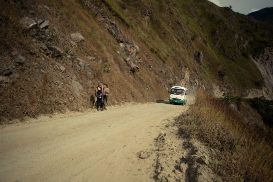 The way is a road for buses going to Hidroelectrica. When we get passed by, we're good to eat some dust…