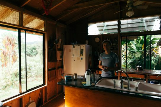 Bérenger making coffee, Kauai, Hawaii