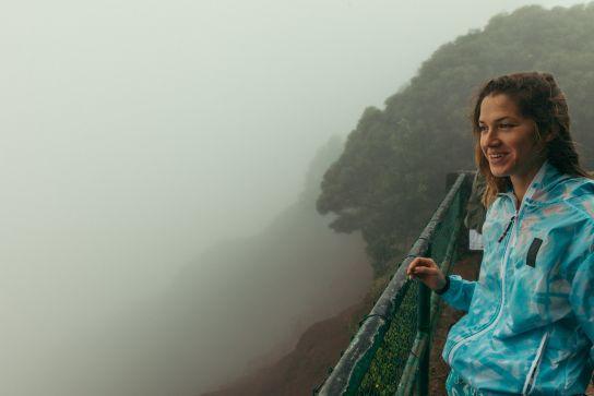 Woman in front of Waimea Canyon, Kaua'i, Hawaii