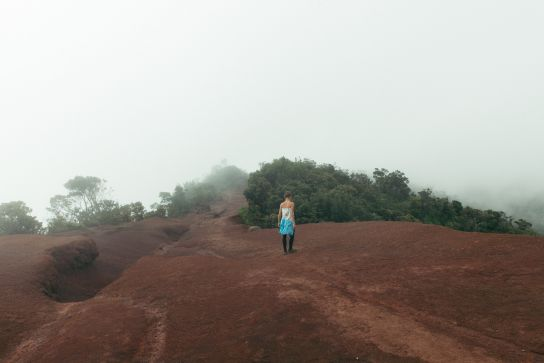 Walking down in the mist, Kalalau Valley, Koke'e State Park, Kaua'i, Hawaii