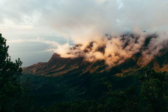 Kalalau Valley from above, Sunset, Koke'e State Park, Kaua'i, Hawaii