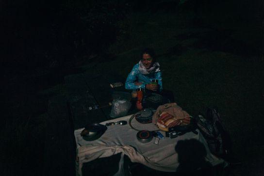 Dinner in the dark, Koke'e State Park, Kaua'i, Hawaii