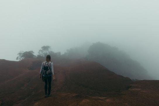 Walking in the mist, Kalalau Valley, Koke'e State Park, Kaua'i, Hawaii