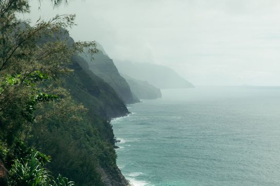 View of Na Pali Coast, Kalalau Trail, Kaua'i, Hawaii