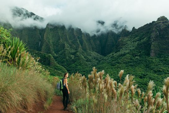 Entering Hanakoa Valley, Kalalau Trail, Kaua'i, Hawaii