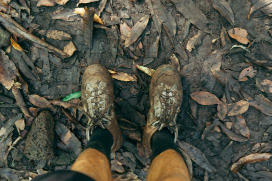 Muddy shoes, Kalalau Trail, Kaua'i, Hawaii