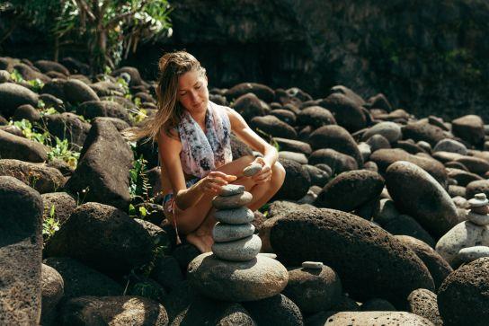Cairn on Hanakapiai Beach, Kalalau Trail, Kaua'i, Hawaii