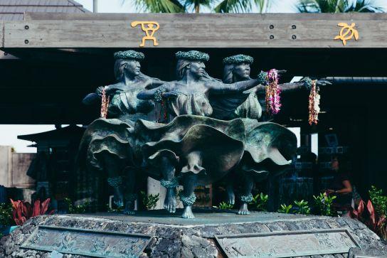 Trois danseuses de hula à l'aéroport Kailua-Kona, Big Island, Hawaii