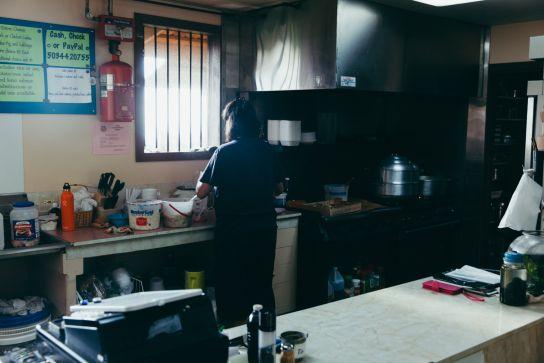 The kitchen, Super J's, Big Island, Hawaii