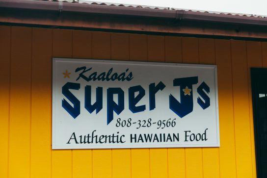 Panneau Kaaloa's Super J's, Big Island, Hawaii