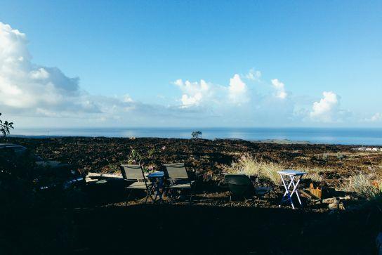 Vue sur l'Océan Pacifique, Ocean View, Big Island, Hawaii