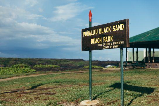 Punaluu Black Sand Beach sign, Big Island, Hawaii