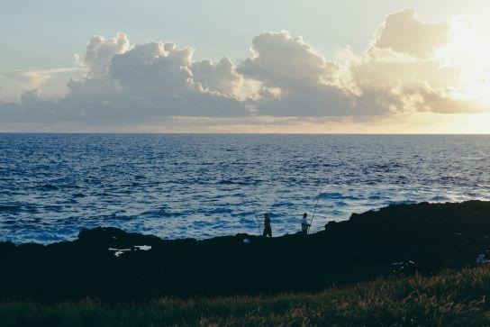 Pêcheurs à South Point, Big Island, Hawaii