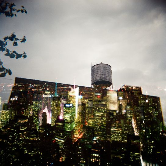 Double exposure. The first one is a water tank at the top of a building, the second is from the Empire State Building where we haven't been, yet.