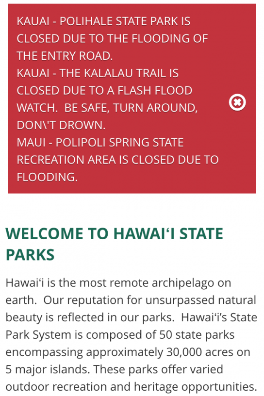 Kalalau Trail closure message on dlnr.hawaii.gov