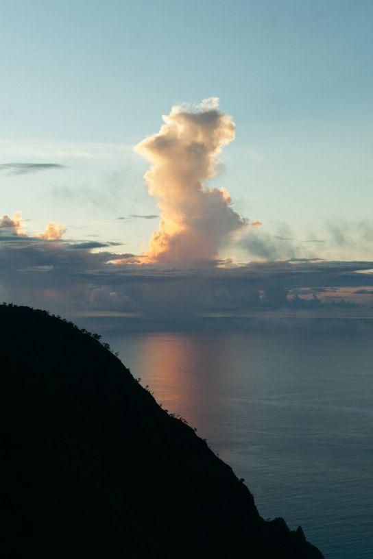 Ridge and Pacific Ocean behind it, Sunset, Koke'e State Park, Kaua'i, Hawaii