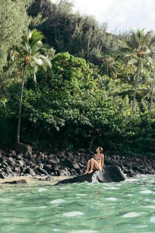 Woman on Kee Beach, Kauai, Hawaii