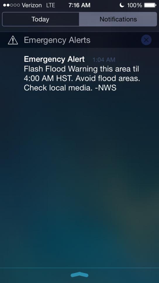 Alerte météo, Kaua'i, Hawai'i
